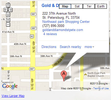 Map to The Gold and Diamond Center